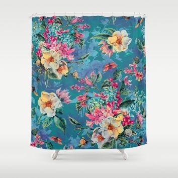 Floral Ocean III Shower Curtain by Valentinasevza