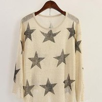 Hole Stars Loose Sweater Beige  S002589