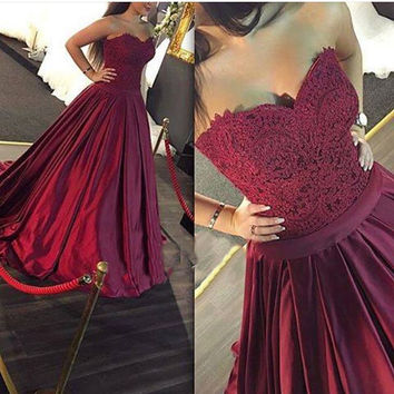 Elegant Wine Red Prom Dresses Evening Dresses