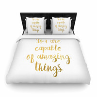 "NL Designs ""Amazing Things"" Gold White Woven Duvet Cover"