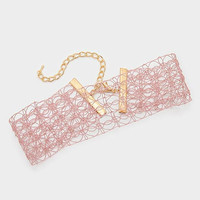 Thick Pink Mesh Crochet Lace Choker Necklace