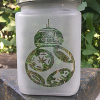 BB8 Etched Glass Stash Jar - Star Wars Inspired- Free UPGRADE to Priority Shipping within the US