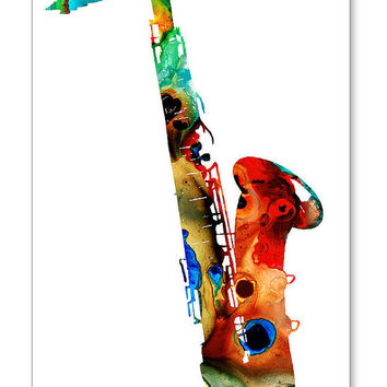 Saxophone Music Art Print from Painting Colorfuln Musical Jazz Band Rock And Roll CANVAS Ready To Hang Large Artwork FREE Shipping S/H