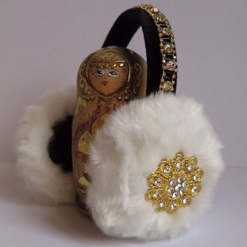 Faux fur earmuffs//white beaded earmuffs//OOAK ear warmers//plush ear muffs//fluffy earmuffs//gift for her