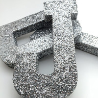 Glitter Letters - Silver - Wedding - Nursery - Baby Shower - Chic - Cute - Decorative - Fun - Glamorous