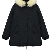 Faux Fur Hood and Drawstring Padded Coat