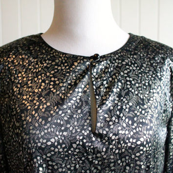 Vintage 70s Metallic Billowing Blouse By Another Thyme// Black Silver Metallic Top