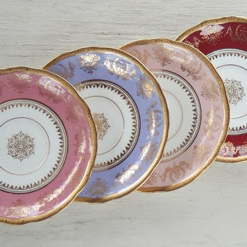 Coalport Mismatched Plates Set of 4 English China Tea Party & Best English Tea Party Products on Wanelo