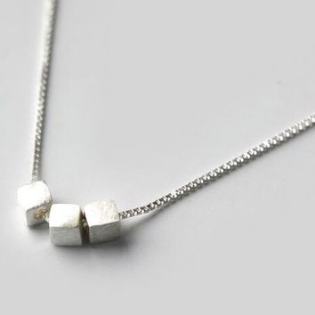Real. 925-Sterling-Silver Square Cube Pendant Necklace Sterling Silver Geometric Fine jewelry GTLX996