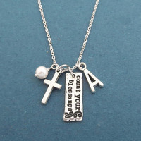 Personalized, Letter, Initial, Count your blessings, Cross, White, Pearl, Silver, Necklace, Gift, Jewelry