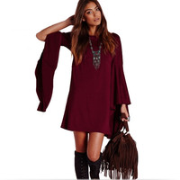 Red Wine Trumpet-Sleeve Shift Dress
