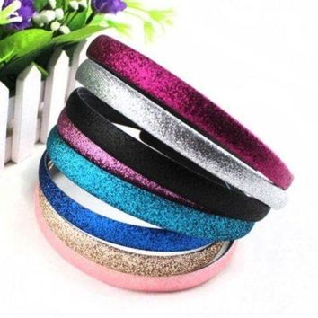 CREYG8W 2 pcs/pack Fashion Lady Girls Glitter Headbands Sparkling Hoop Hair Leather Plastic Hair Band Hair Band Accessories