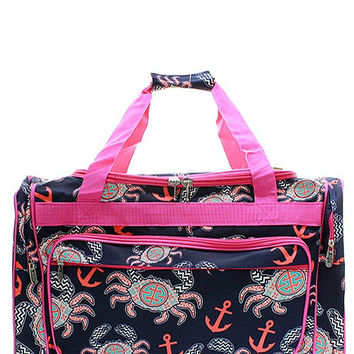 "23"" Crab & Anchor Print Duffel - 2 Color Choices"