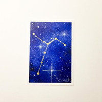 Artist Trading Card, Columba Constellation, Original ACEO, Starry Sky