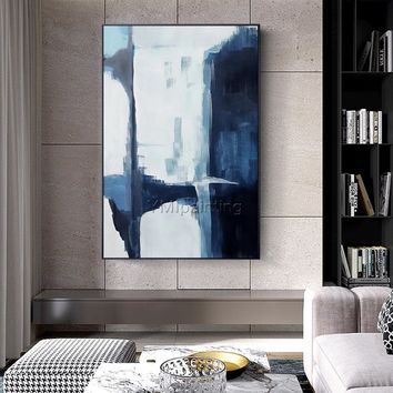 Abstract Painting acrylic blue paintings on canvas large Wall art Pictures modern abstract home quadro decor original painting hand painted