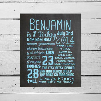 Printable Chalkboard Poster 1st  Birthday Favorite Things Poster, Huge Digital Personalized Customized Party Art Print Baby Stats Typography