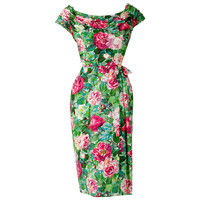 1950's Ceil Chapman Watercolor Garden Floral Ruched Print-Cotton Cocktail Dress
