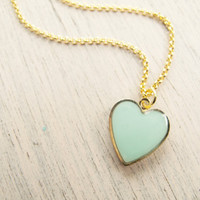 Mint Gold Heart Necklace - Bridesmaide Gift