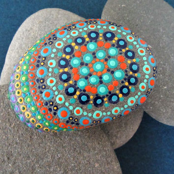 Hand painted stone with flower design, mandala style, dot artwork, one of a kind original beach stone, Christmas gift idea