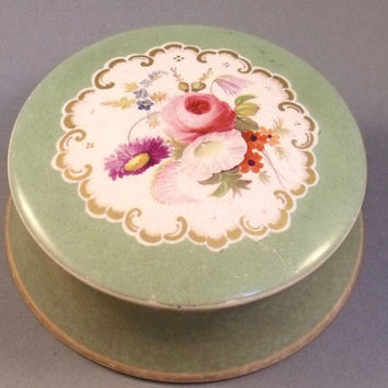 19thc Antique Ceramic China Dresser Ointment Jar with Hand Painted Flowers and Gilding