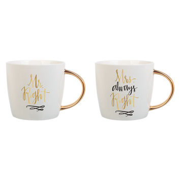 "SLANT COLLECTIONS ""MR & MRS RIGHT"" MUG SET"