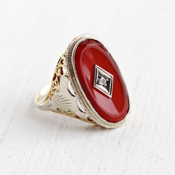 Antique 18k & 14k Gold Diamond, Carnelian Ring - Size 7 3/4 Vintage Filigree Art Deco 1930s Yellow, White Gold Fine Jewelry