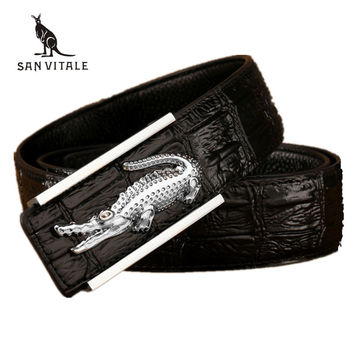Leather crocodile model of commercial crime belt designer luxury belts male high quality genuine leather belt for men
