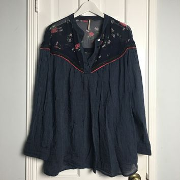 Free People blue striped and floral oversized blouse sz M