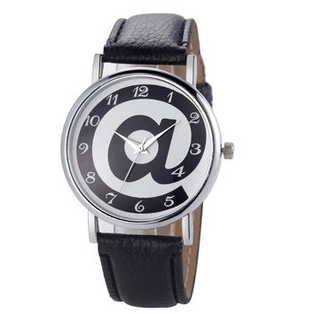 Women Fashion Wrist Analog Leather Strap Quartz Watch .