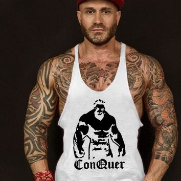 Gyms tank tops Bodybuilding Clothing Fitness Men Cotton golds gyms Stringer hip hop Sleeveless Shirts Muscle tanktop singlets