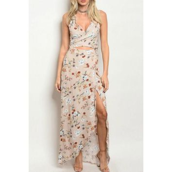 Nude Floral Two Piece Set