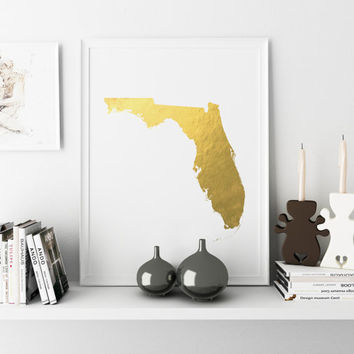 Florida Gold Foil Map Print Wall Art Personalized Home Town Art State Wall Decor Typography Art Nursery Art Print USA Decor Poster Print
