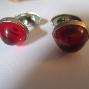 Vintage Lucite Art Deco Atomic 1950s Red Cufflinks Men or Woman Jewelry