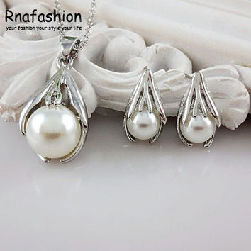 Simulated Pearl Jewelry Sets For Women Crystal Earri... | Tophatter
