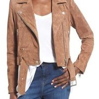 Women's Blanknyc Morning Suede Moto Jacket, Size X-Small - Brown
