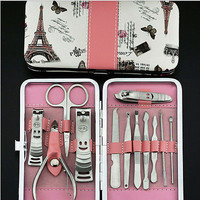 12x Pedicure Manicure Set Nail Cuticle Clippers Cleaner Grooming Kit Case Tool