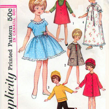 "Simplicity 6207 Sewing Pattern Vintage 50s Doll Wardrobe Clothes 8"" Penny Brite Dress Coat Pajamas Uncut FF"