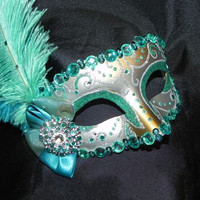 Venetian Masquerade Mask in Aqua, Teal and Silver