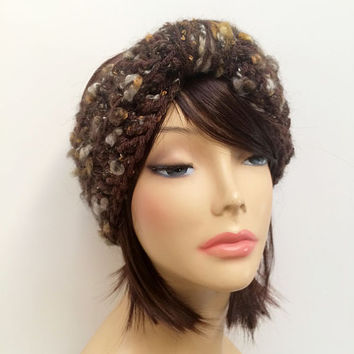 FREE SHIPPING - Crochet Knotted Turban Ear Warmer Headband - Speckled, Brown, Gold, Cream, Gray, Silver
