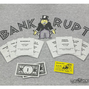 90s Bankrupt T Shirt, Vintage Monopoly Tshirt, XL, Rich Uncle Pennybags, Board Games, Do Not Pass Go, Retro Baggy Top, 1990s Oversized Tees