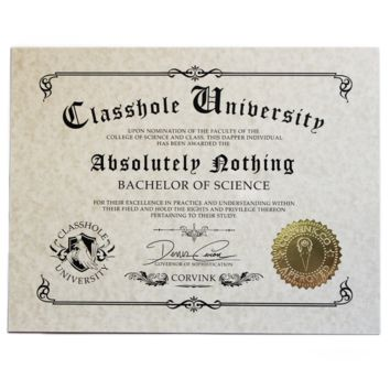 Classhole University BS Diplomas - 59 Selectable Diplomas - by Denis Caron - Corvink