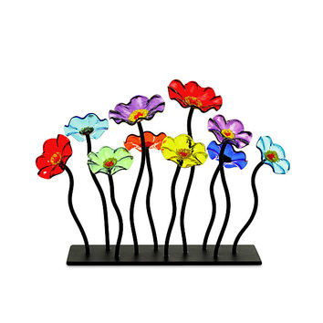Glass Flower Garden Centerpiece | Flower Art, Unique Centerpiece, Colorful Centerpiece
