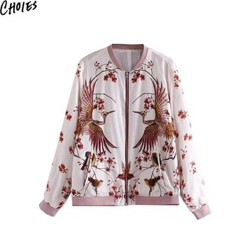 Women White Birds And Floral Print Long Sleeve Zip Front Casual Bomber Jacket New Autumn Vintage Baseball Pockets Coat