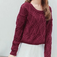 Wine Red Long Sleeve Knitted Sweater