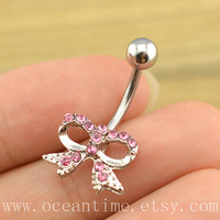 pink bow Belly Button Rings,pink Navel Jewelry, bow belly button jewelry,cute bow, friendship bellyring