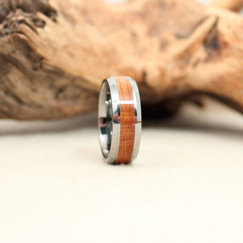 Tungsten Carbide Ring with Bourbon Barrel Oak Stave Wood Ring