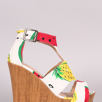 Fruit Print Cutout Peep Toe Platform Wedge