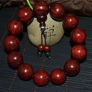 natural genuine india zitan red sandalwood bracelet rosewood wooden prayer beads mala wood worry rosary buddhism wild Authentic Real Buddhist misbaha tasbih komboloi islamic 18MM