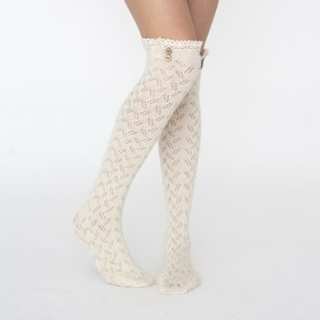 Cream Lace Trim Boot Socks