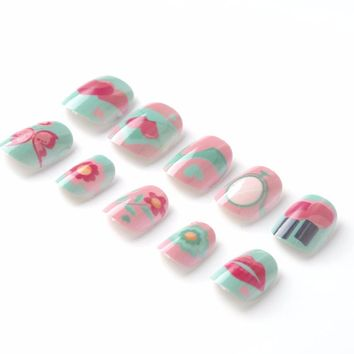 New Candy Lives Children Fake Nails Pre-glue 20 Pcs Pink Blue Nail Tips Press on for Little Girls Kits patch for Finger
